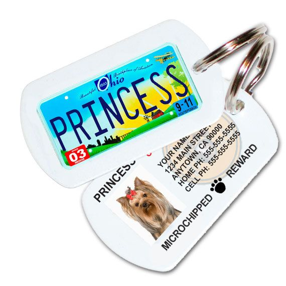 Ohio License Plate Pet Id Tag Dog Id Tag Free Shipping Pl8s 4 Pets By 1cutepooch Pet Id Dog Id Dog Id Tags