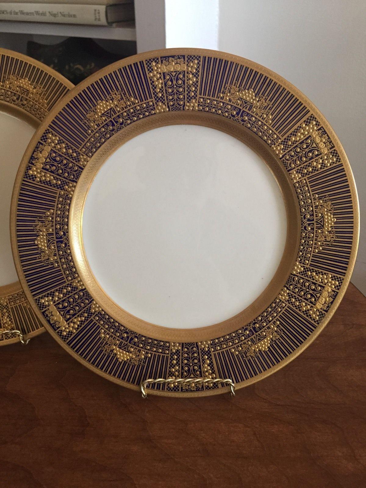 17a418886510 Fine Antique Lenox Dinner Service Plates Cobalt And Gold 1830 Pattern | eBay