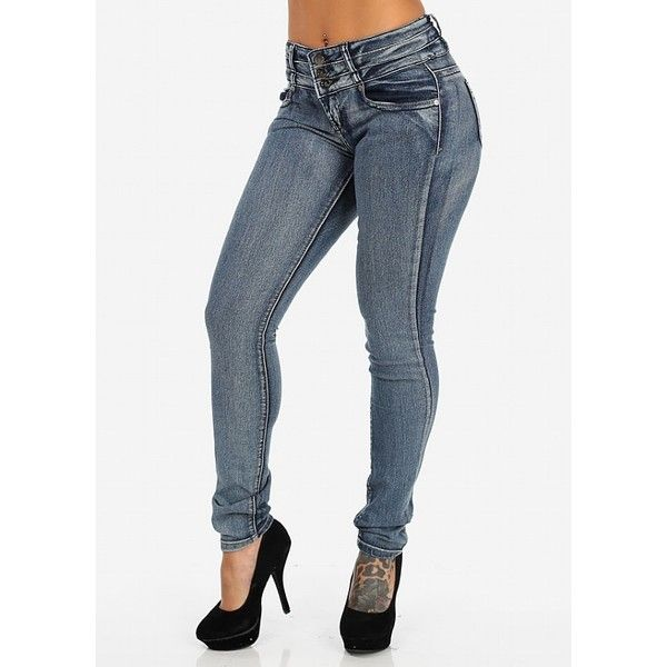 Butt Lifting Blue Skinny Jeans ($20) ❤ liked on Polyvore featuring jeans, denim skinny jeans, cut skinny jeans, skinny fit jeans, skinny leg jeans and skinny jeans