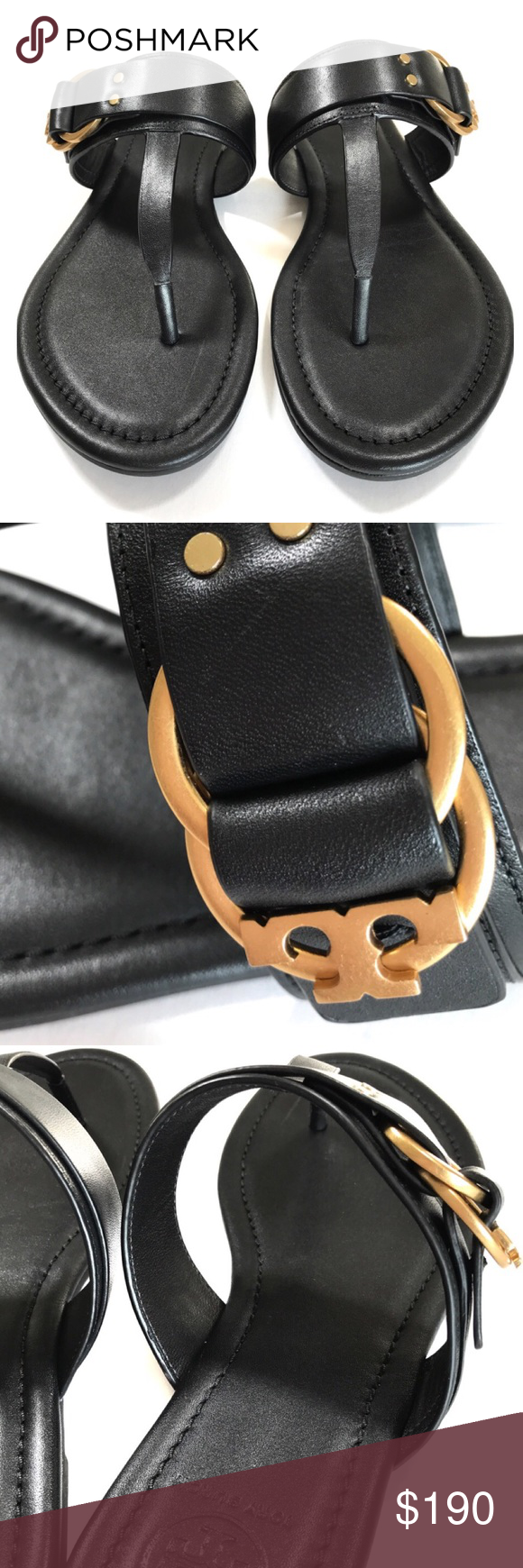 ca88c451aeb Tory Burch Marsden Flat Thong nib Tory Burch Marsden Flat Thong is  distinctively different. The unique brass brushed double-ring buckle with  rivets adds a ...
