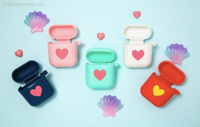 best service 74712 6bb91 AirPod Case Keychain / Heart AirPods Case / Silicone AirPod Keychain ...
