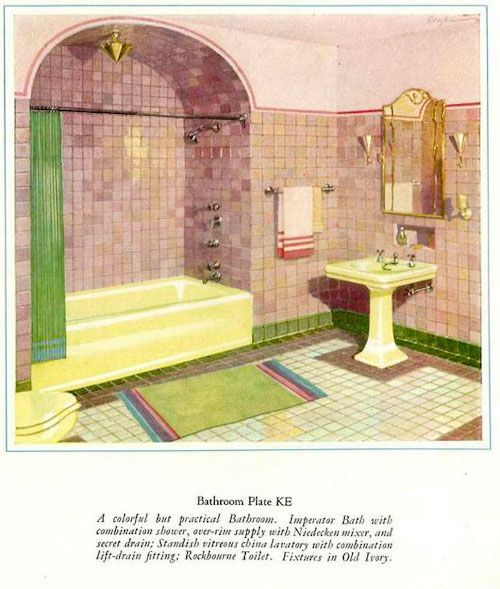 The first colors for bathroom fixtures - Kohler introduces sink, tub and toilet sets in six colors, 1927 - Retro Renovation