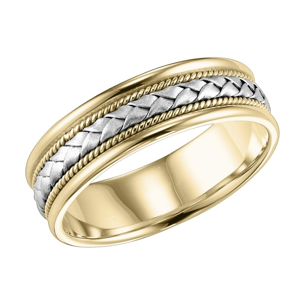 Two Tone Woven Comfort Fit Wedding Band Charles Schwartz Son Braided Wedding Band Precious Metal Band Mens Wedding Bands