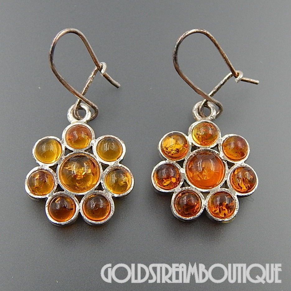Sterling silver baltic amber floral cluster kidney wire earrings ...