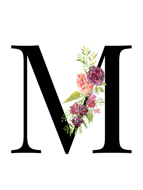 Letter M Floral Monogram Printable Letter Nursery Art
