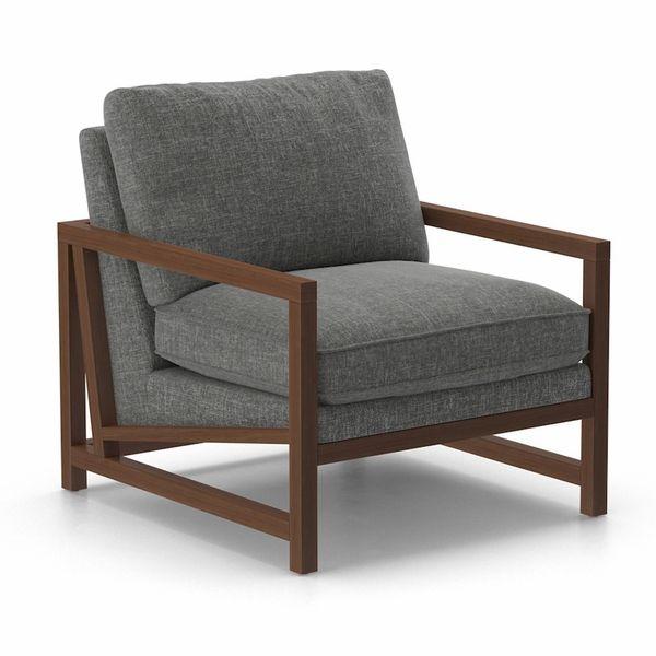 Marc Chair (Wood Arms) shown in Bebop Grade, Shade Fabric w/ Walnut Legs