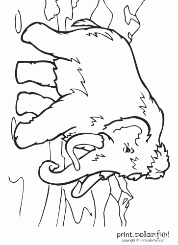 This Coloring Page For Kids Features A Wooly Mammoth Walking Along The Ground Also Known As Tundra It Has Long Been Extinct Thousands Of