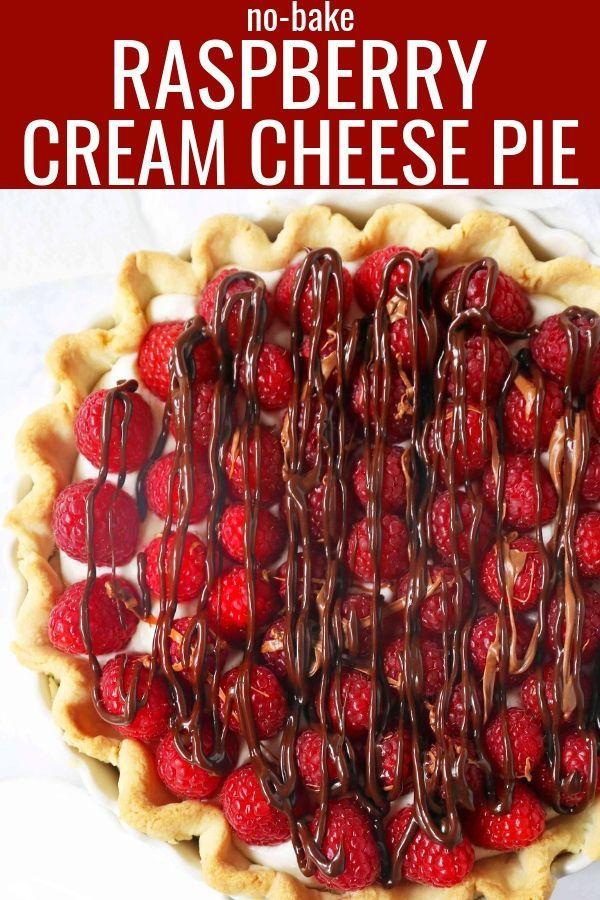 Raspberry Almond Cream Cheese Pie. A simple cream cheese almond pie with fresh raspberries and chocolate drizzle. An award-winning easy pie recipe! www.modernhoney.com #creamcheesepie #raspberrypie #pie #pierecipe #driscolls #easypierecipes
