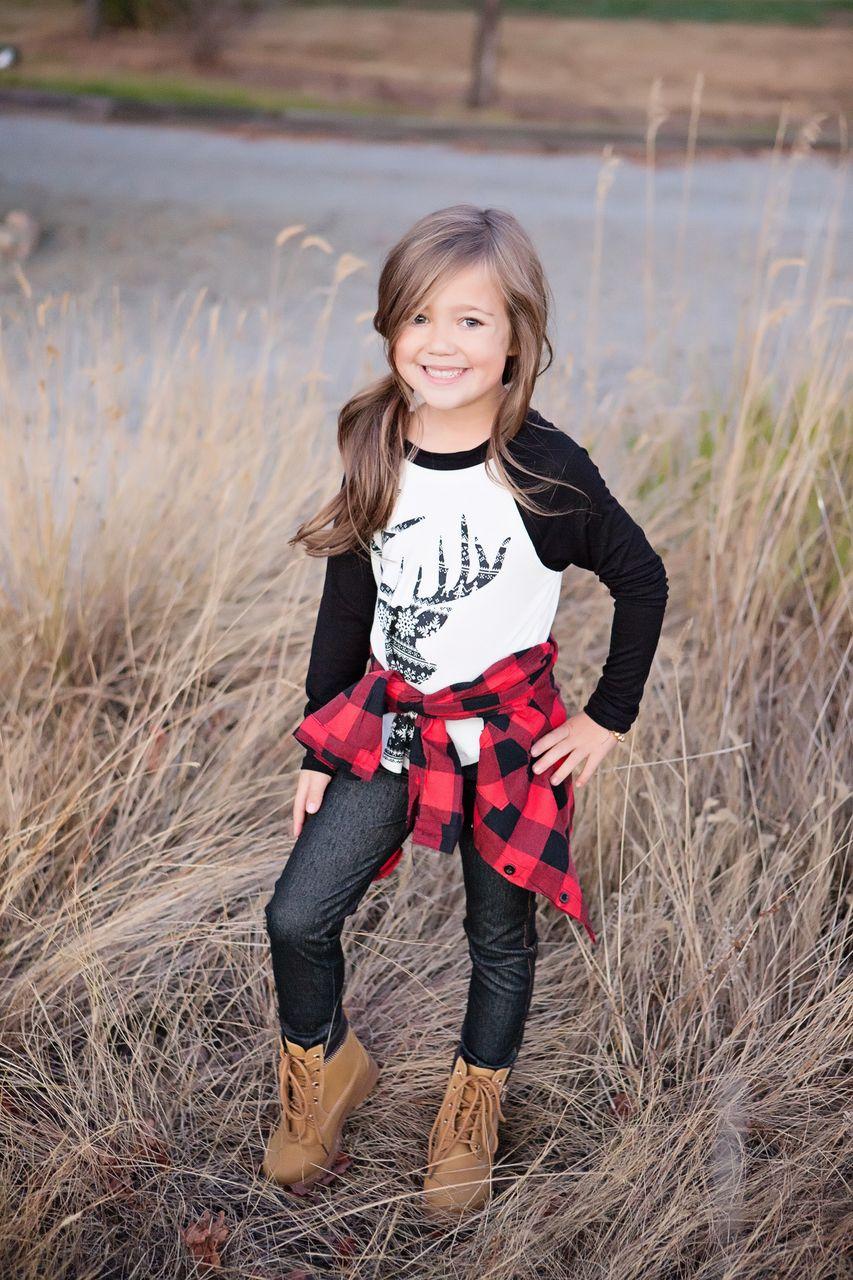 Girls Deer Baseball Top Black - Ryleigh Rue Clothing ...