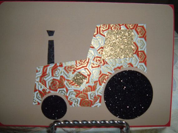 Iris Folding Tractor done in a red/white/gold by DeesGreetingCards, $4.50