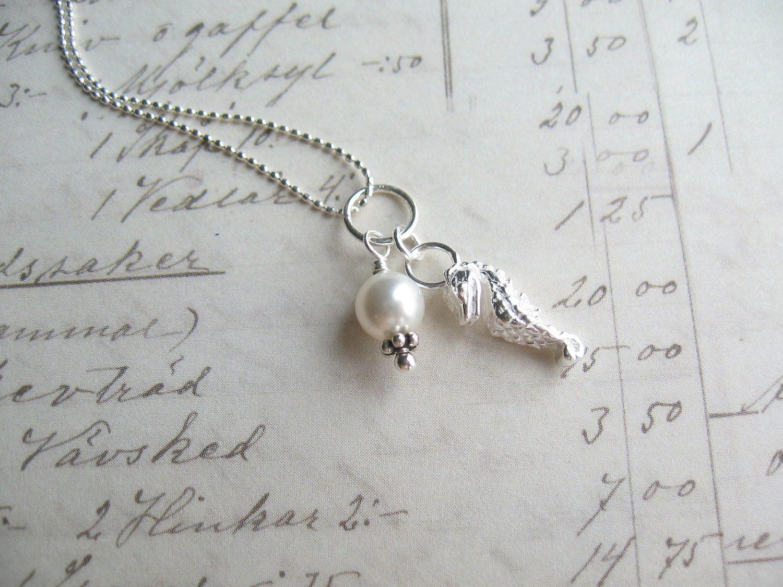 Silver Seahorse Necklace Swarovski Pearl Necklace Swarovski