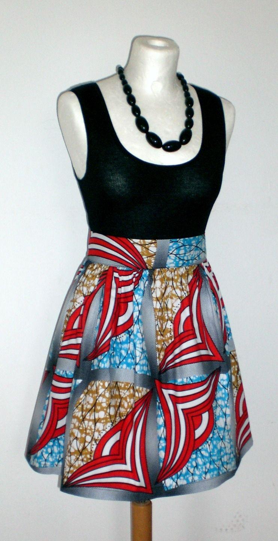 jupe mini froncée en wax africain N°6