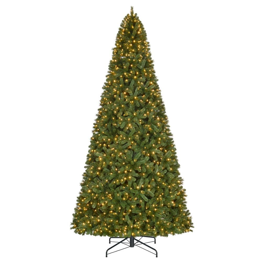 12 Ft Pre Lit Led Wesley Spruce Artificial Christmas Tree With 1 100 Warm White Lights Artificial Christmas Tree Types Of Christmas Trees Christmas Tree