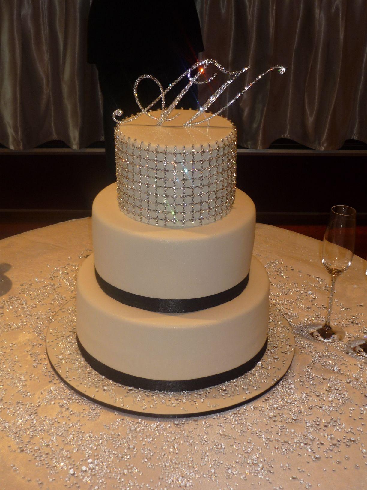 Bling bling wedding cake tiers of chocolate mudcake with ganache