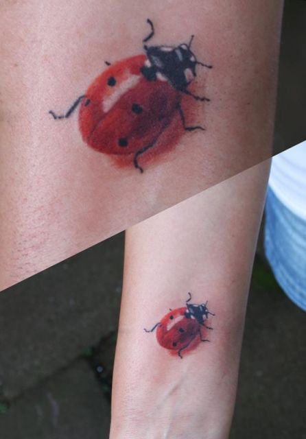 Ladybug tattoo thought of you @Bekah DeMieri Cross