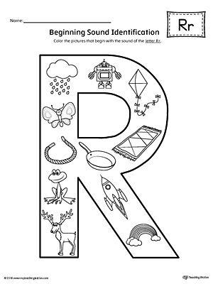 Letter R Beginning Sound Color Pictures Worksheet Beginning Sounds Worksheets Kindergarten Letters Beginning Sounds