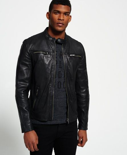 d801c41b5199 Superdry Classic Real Hero Biker Leather Jacket Black | cool shit ...