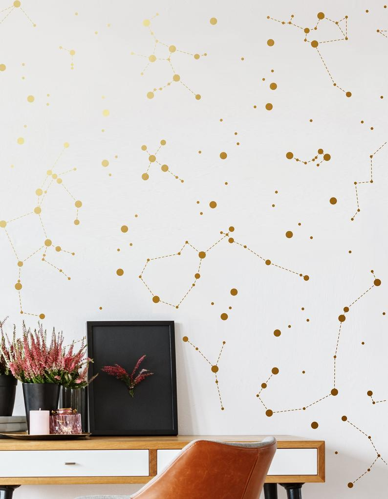 Gold Constellation Decals Celestial Decor Gold Star Constellations Constellation Vinyl Decals Star Map Zodiac Signs Orion Libra Decal With Images Constellation Decal Constellation Decor Constellation Wall Art