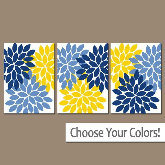 Blue Yellow Wall Art- Bedroom Canvas or Prints Bathroom Artwork ...