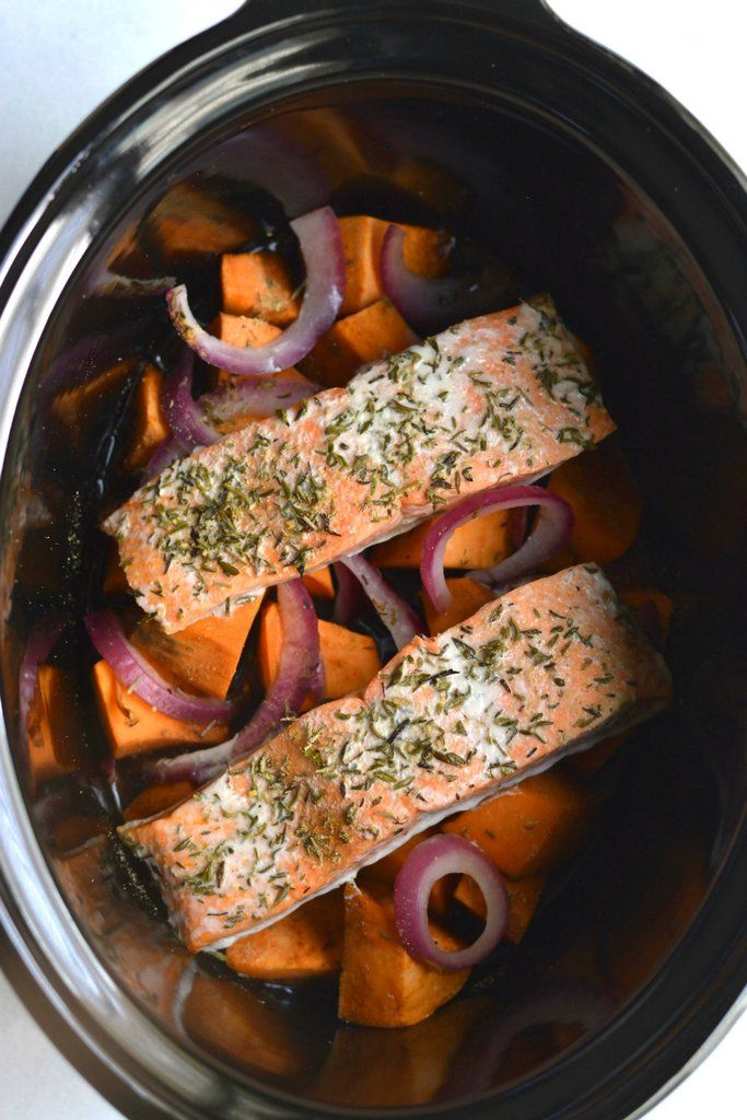 Slow Cooker Balsamic Salmon And Sweet Potatoes Sizzlefish In 2020 Crockpot Salmon Recipe Salmon And Sweet Potato Recipes