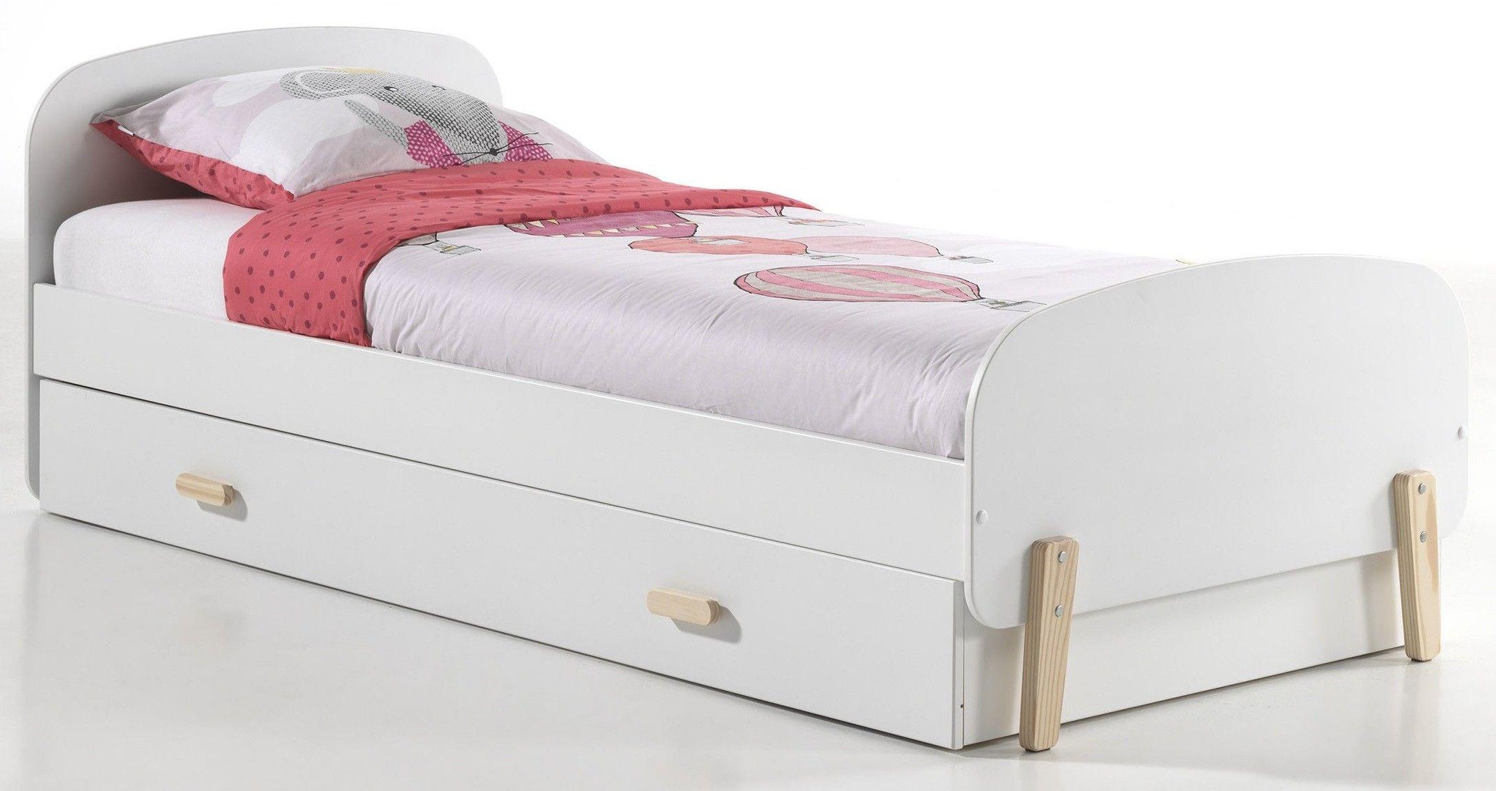 Lit Gigogne Laque Blanc Et Pin Massif Clair Kiddy 90x200 Cm Lit Gigogne Modele De Lit Gigogne