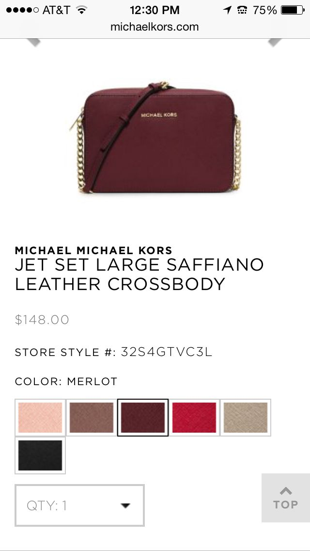 9fb0cb47d9f59 MICHAEL MICHAEL KORS JET SET LARGE SAFFIANO LEATHER CROSSBODY-Merlot  148.00