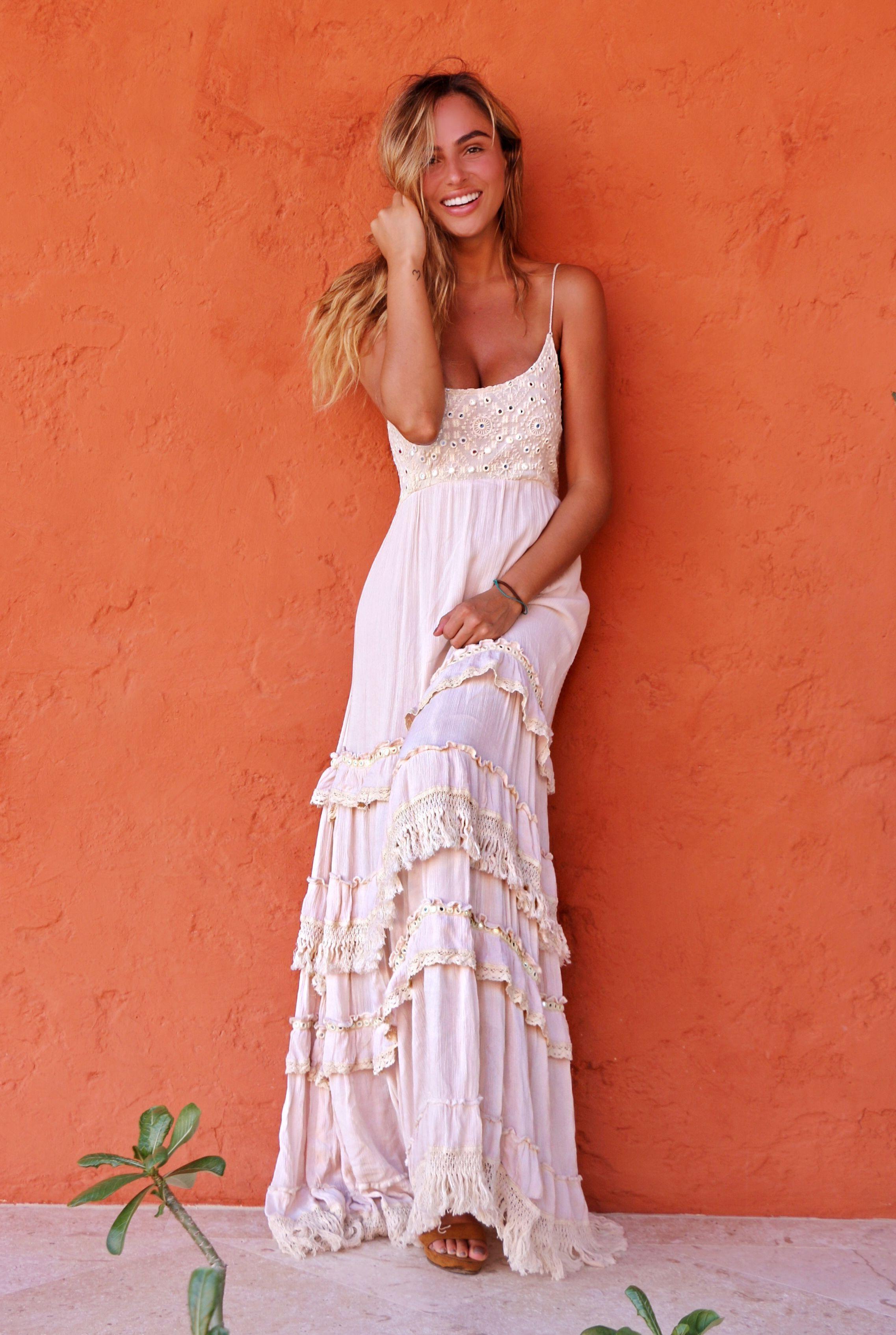 Long Boho Beach Wedding Sundress Spaghetti Strap Boho