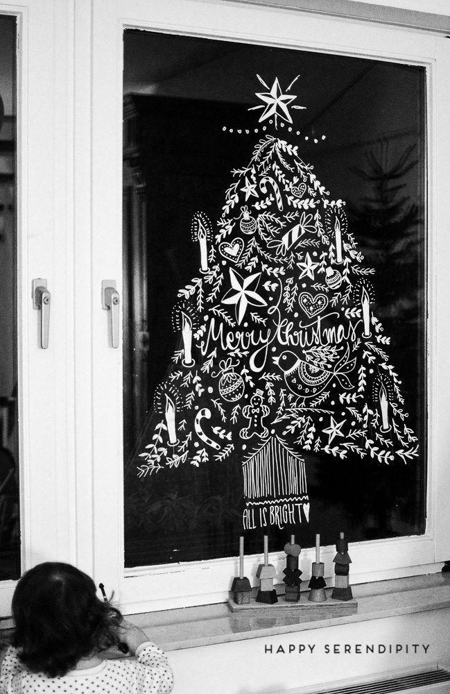 {diy} Opulente weihnachtliche Fensterdeko mit Kreidemarker #gesso