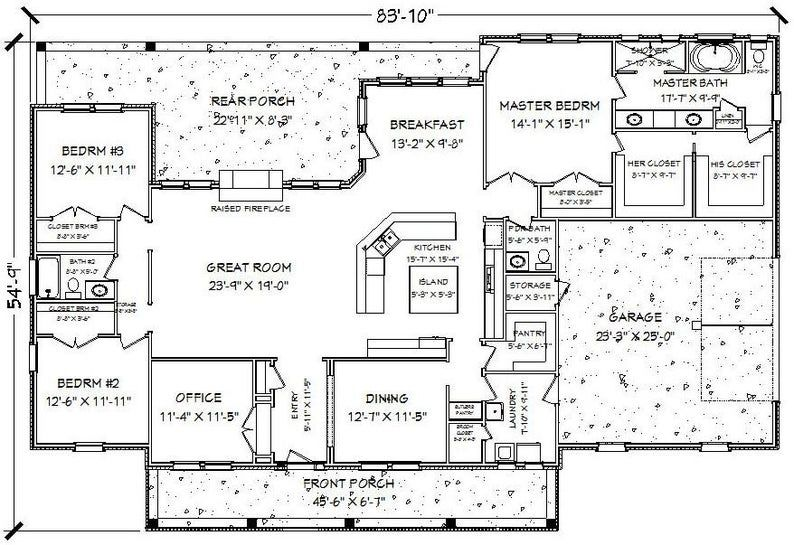 Cd235j house floor plan 2 628 3 bedroom 2 5 bath 1 story country style