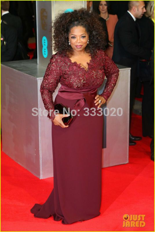 Oprah Winfrey Baftas 2014 Red Carpet Celebrity Formal Dress Burgundy ...