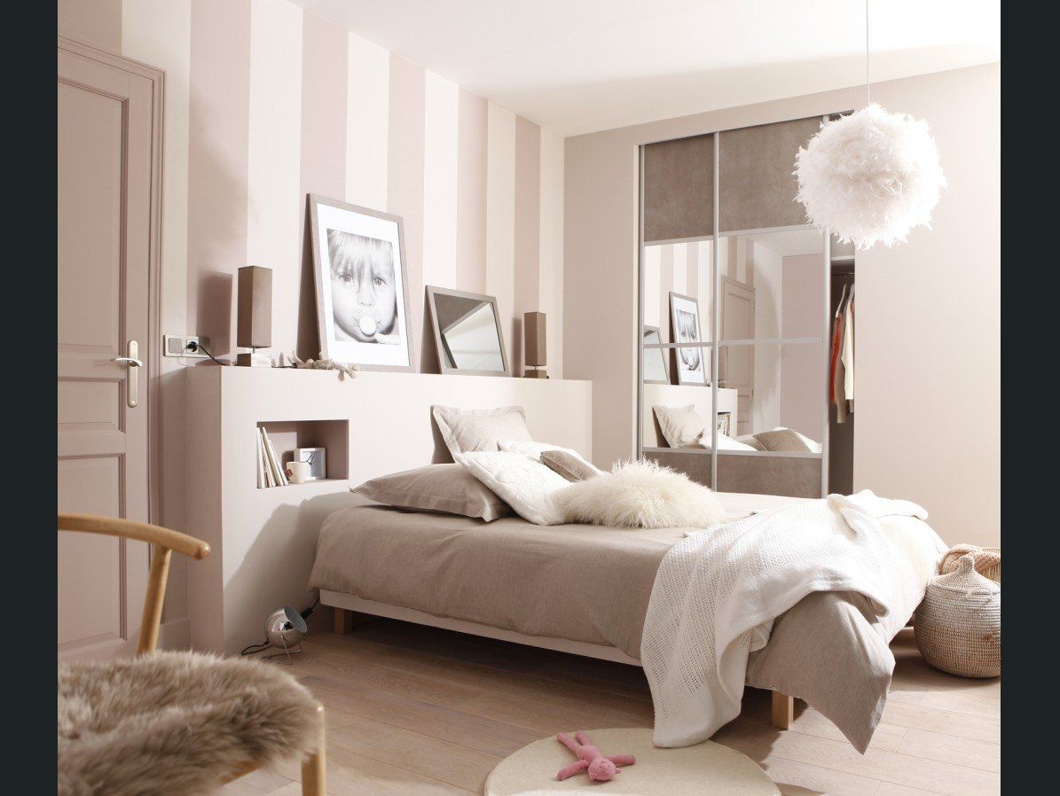 Chambre adulte blanc beige naturel corep charme for Chambre romantique