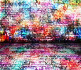 Colorful perspective wall art background