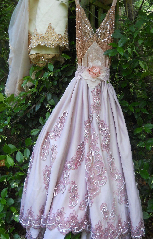 gypsy dress crochet cotton lace fairytale rose boho vintage romantic ...