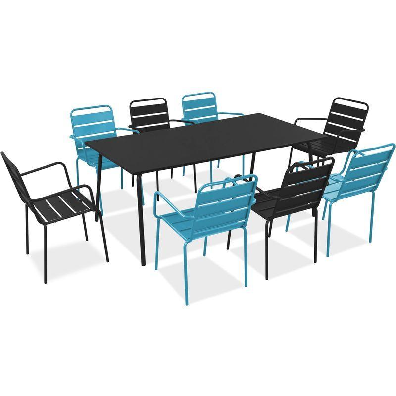 Salon de jardin en métal 1 table et 8 fauteuils - Bleu ...