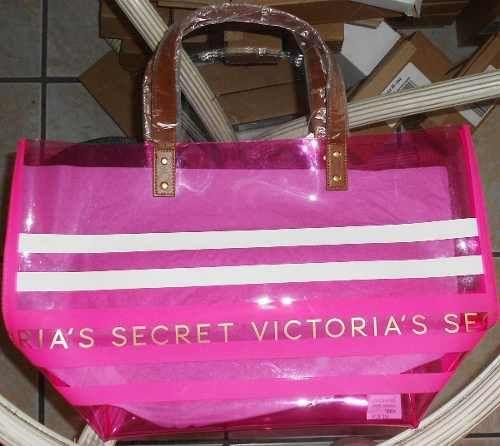 e07570751 Victorias Secret Bolsa Tote Plastico Rosa Playa Amyglo Rayas - $ 400.00