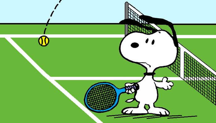 Snoopy Getting Lobbed Over On The Tennis Court Tennis Funny Snoopy Snoopy Love
