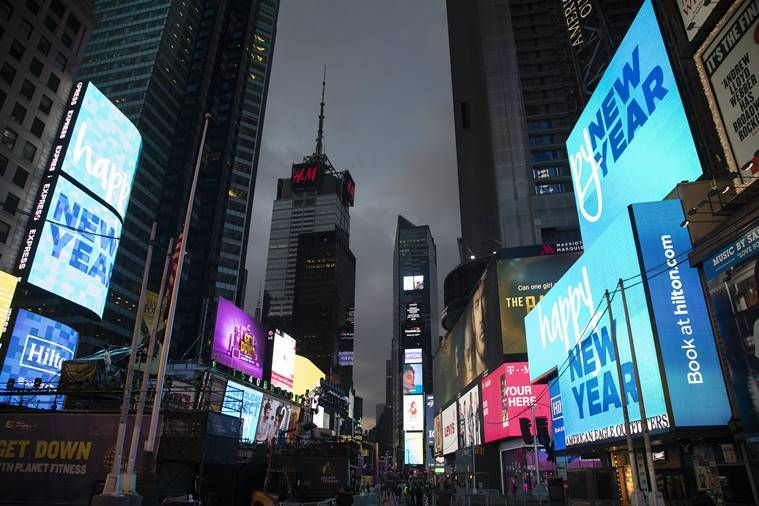 Billboards in the new year in New York's Times