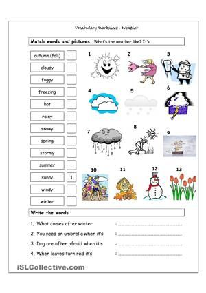 vocabulary matching worksheet weather worksheet free esl weather weather worksheets. Black Bedroom Furniture Sets. Home Design Ideas