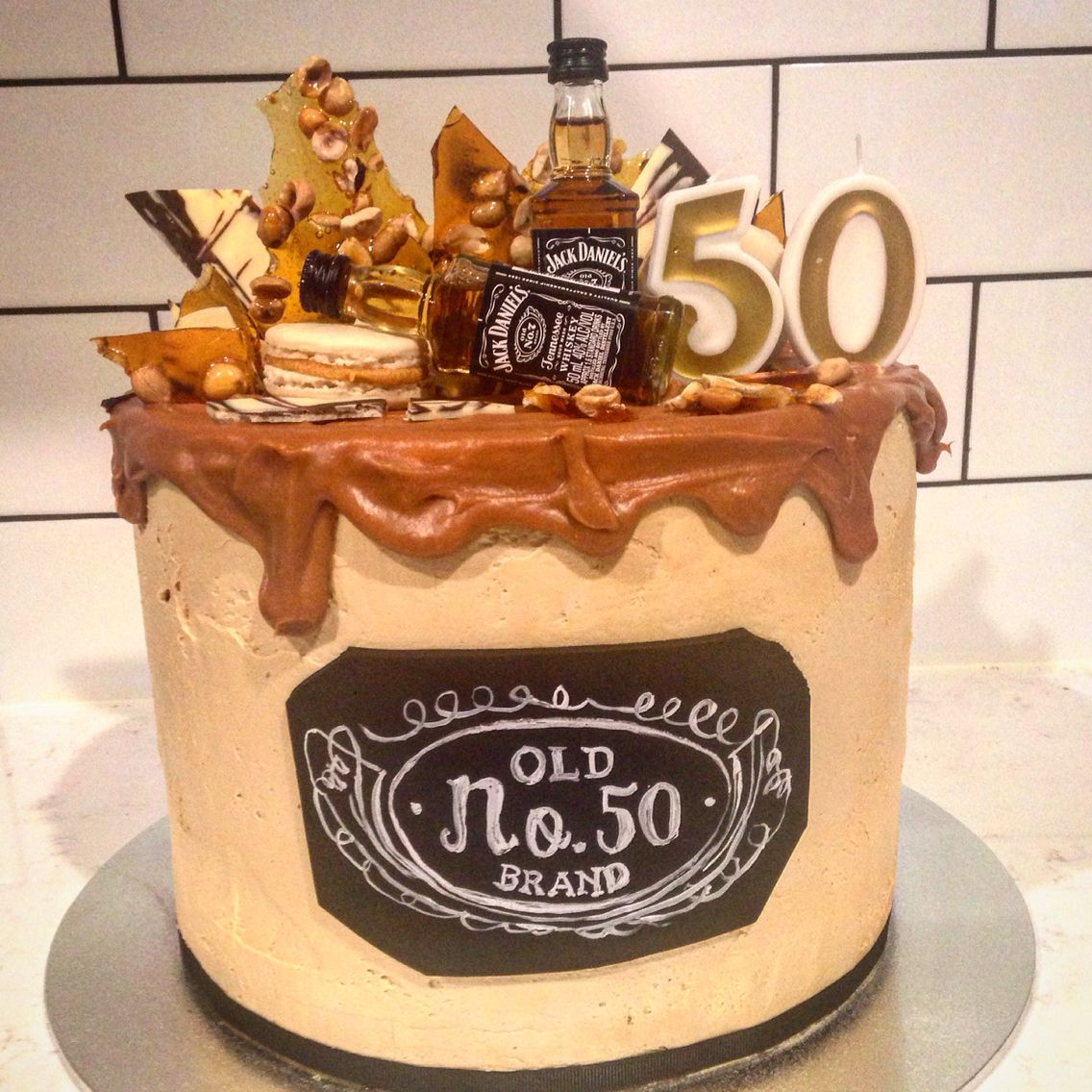 Jack Daniels 50th Birthday Cake. Layers Of Chocolate Cake