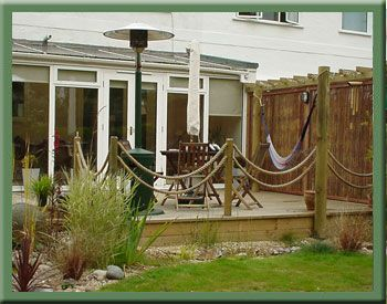 Fun idea for rails on a low deck google image result for for Garden decking with rope