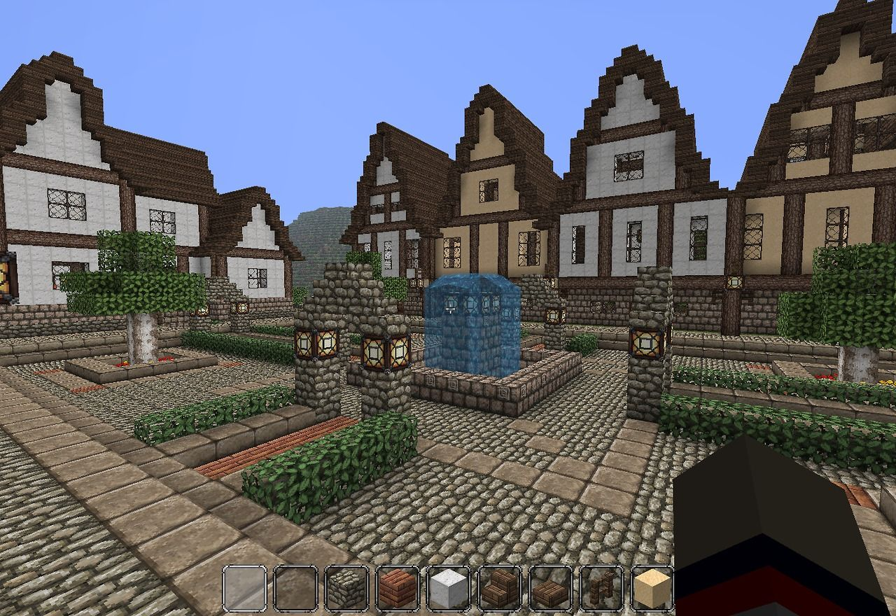 Medieval town square | Minecraft | Minecraft houses