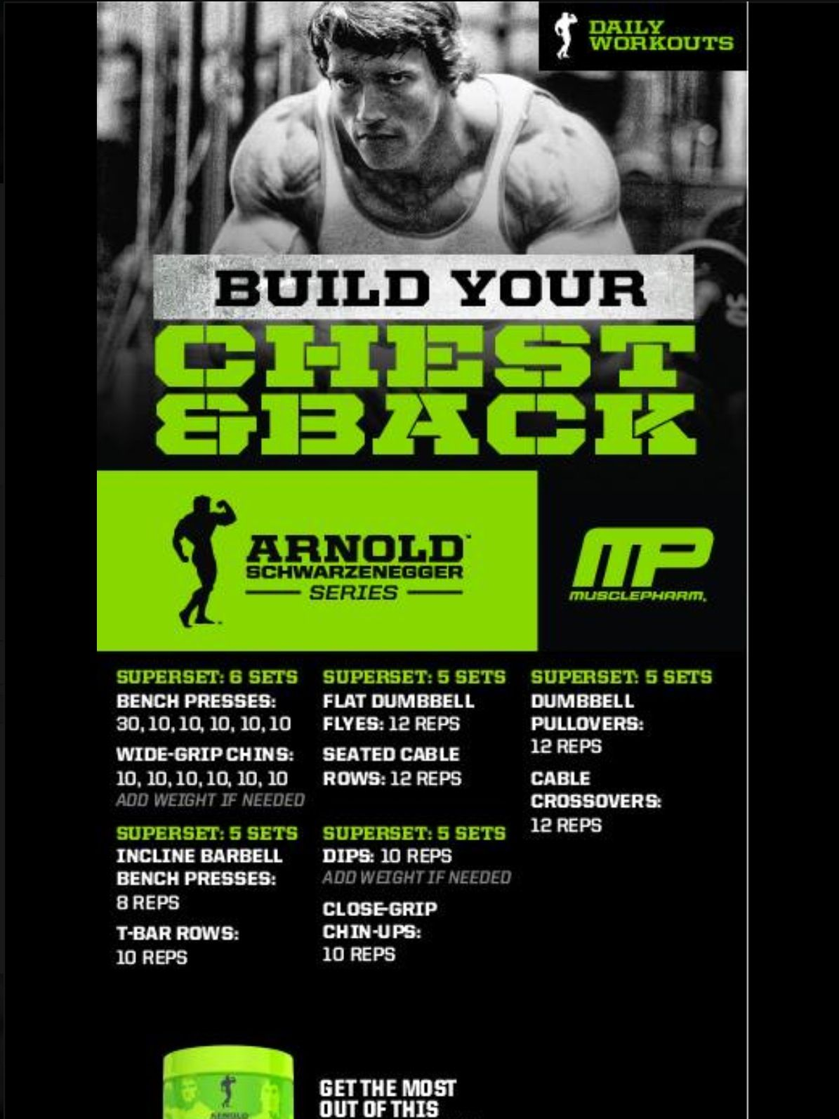Arnold chest and back workout by musclepharm workout pinterest arnold chest and back workout by musclepharm malvernweather Choice Image