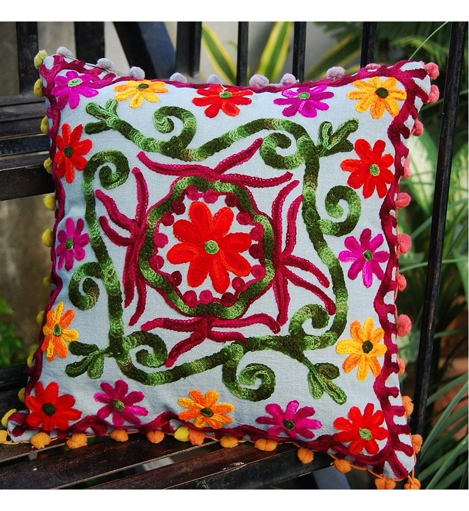 Suzani embroidered decorative sofa pillow cushion cover bohemian
