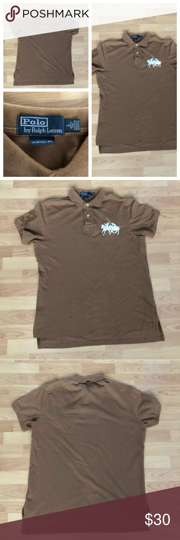 92d38e783 Vintage Polo Ralph lauren button rugby Shirt Mens Vintage Polo Ralph lauren  button rugby Shirt Mens size Large brown white custom ITEM FEATURES!
