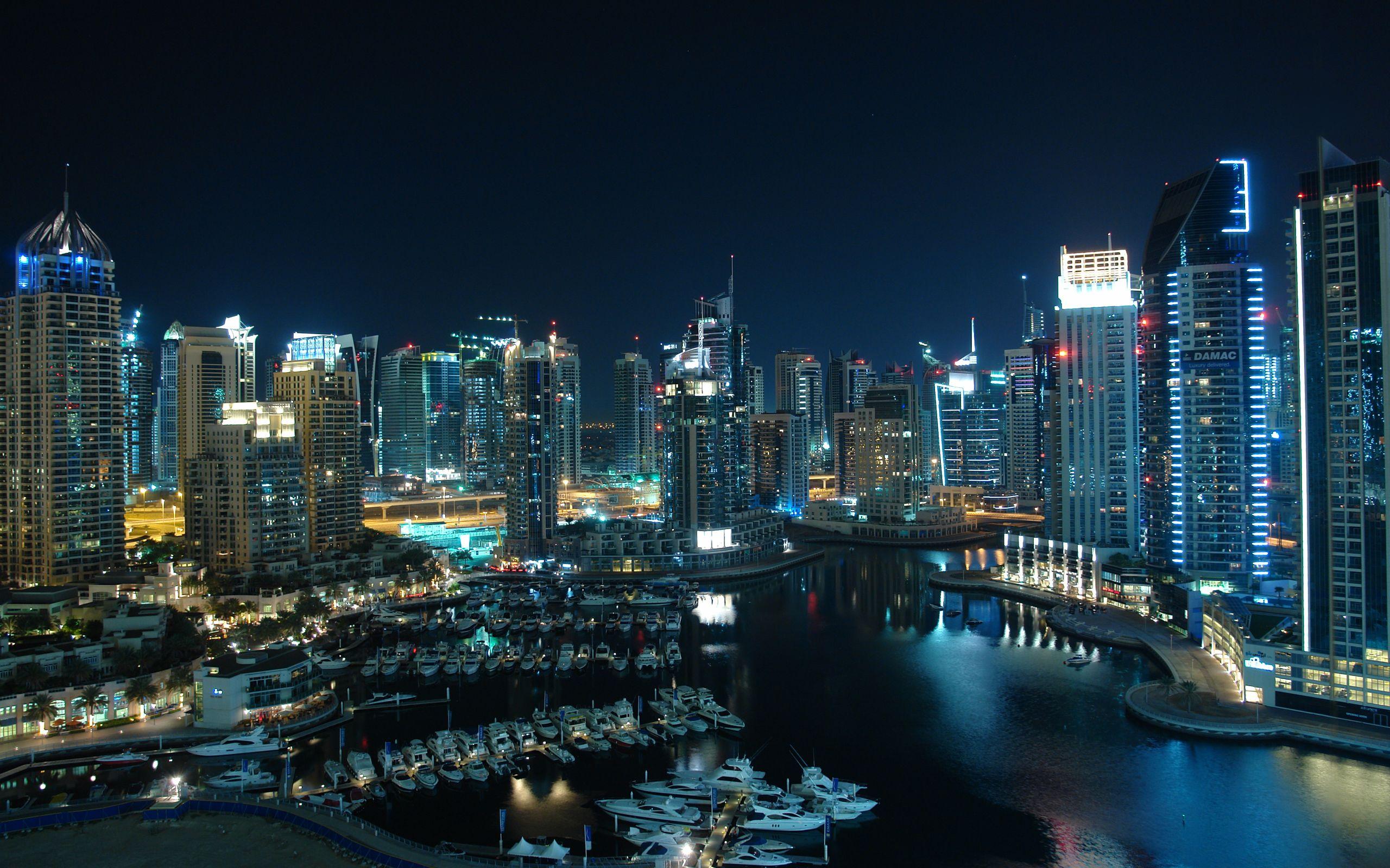 Dubai At Night Dubai Buildings Dubai City City Wallpaper