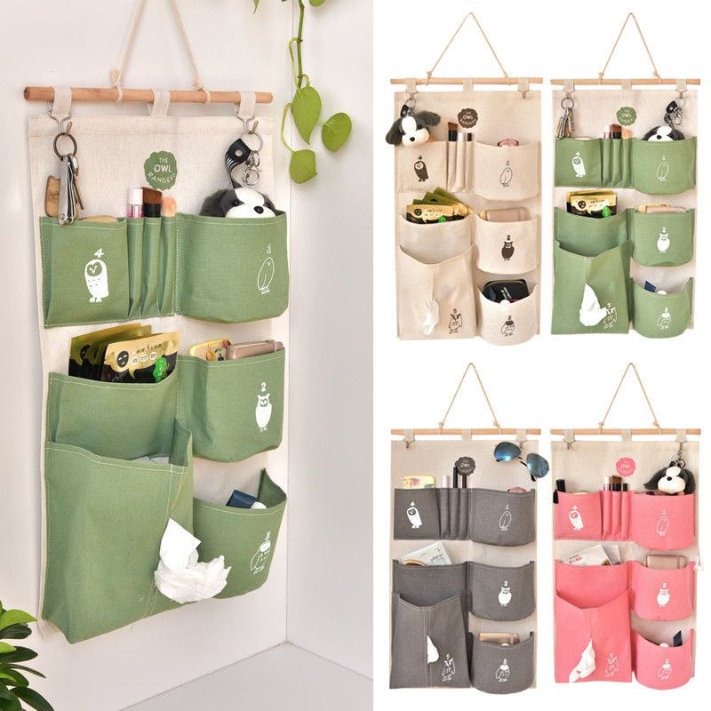 Cratone Flamingo Pattern Storage Bag Hanging Organizer Waterproof Basket with 3Pockets and 2 Pcs Self Adhesive Hooks for Door Wall or Bathroom