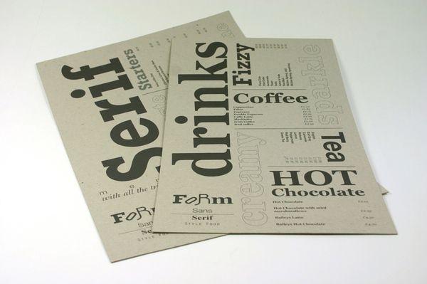typographic restaurant menus - Google Search