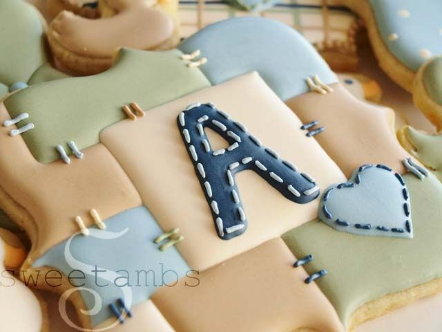Would make these in different colors, but cute patchwork cookies for a baby shower