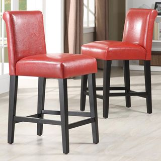 Bennett 24 Inches Red Faux Leather High Back Bar Stools Set Of 2 By Inspire Q Bold