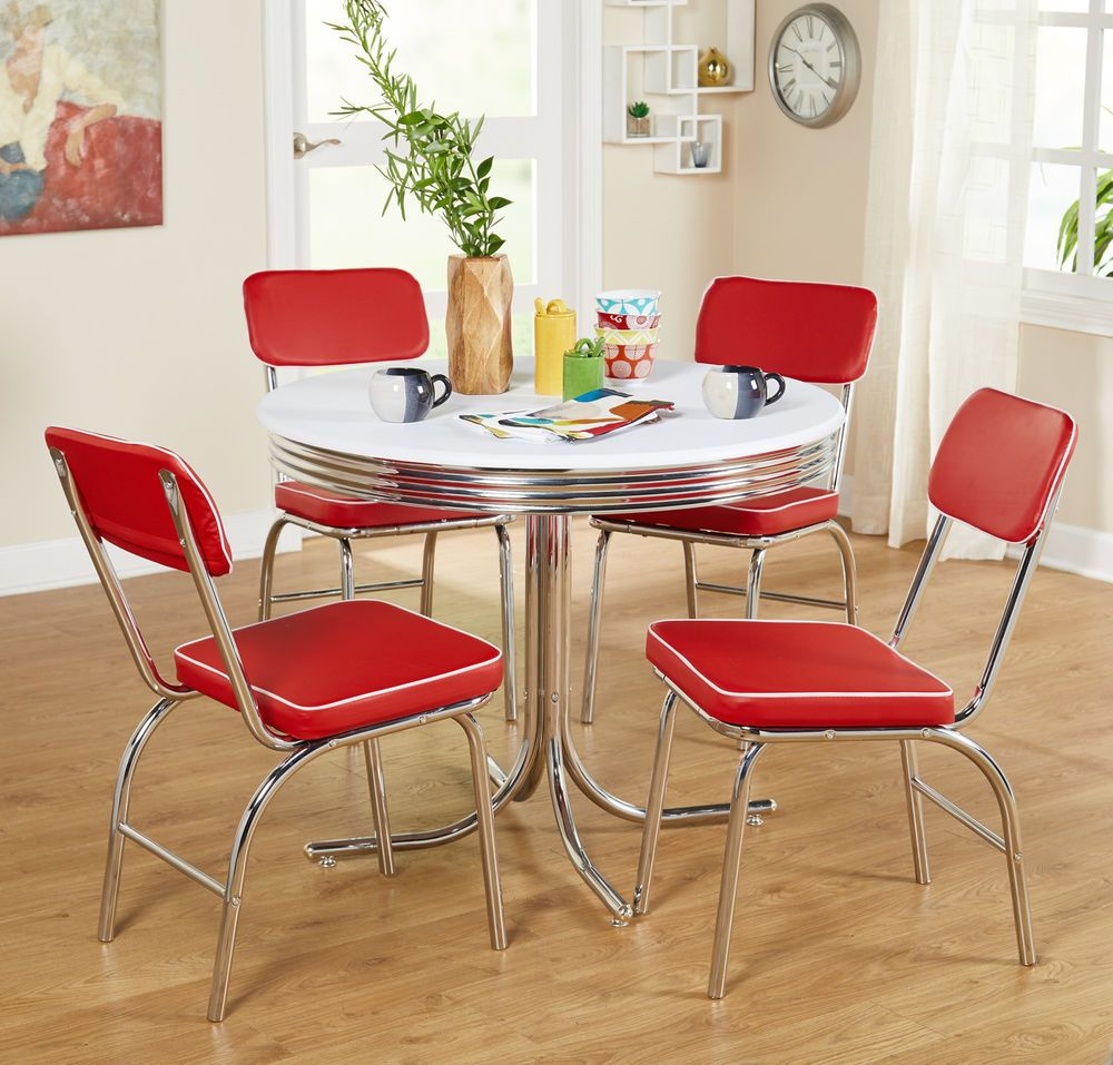 50s Kitchen Chairs Diner Style Vintage Chrome Retro Set Of 2 Red Upholstered New Retro Dining Rooms Retro Dining Table Retro Table And Chairs